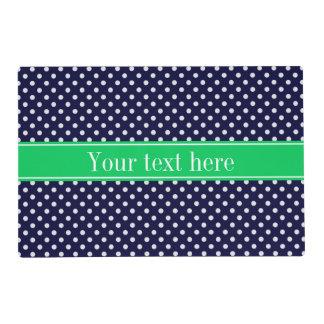 Navy Blue Wt Polka Dot Emerald Green Name Monogram Placemat