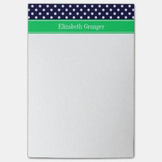 Navy Blue Wt Polka Dot Emerald Green Name Monogram Post-it Notes