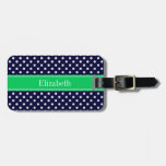 Navy Blue Wt Polka Dot Emerald Green Name Monogram Tag For Luggage