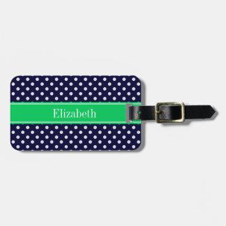 Navy Blue Wt Polka Dot Emerald Green Name Monogram Tag For Luggage