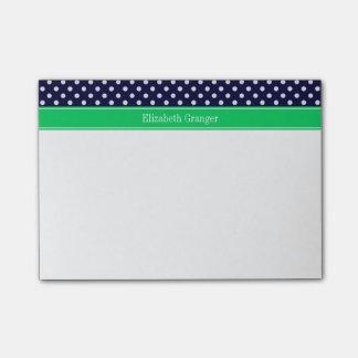 Navy Blue Wt Polka Dot Emerald Green Name Monogram Post-it® Notes