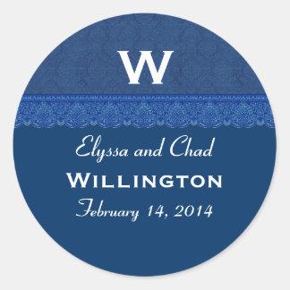 Navy Blue wth Lace Monogram Round Address Label Classic Round Sticker