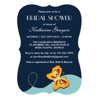 Navy Blue Yellow Butterfly Shower Invitation