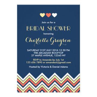 Navy Blue Yellow Chevron Bridal Shower Invitation