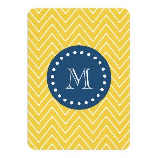 Navy Blue, Yellow Chevron Pattern | Your Monogram Card