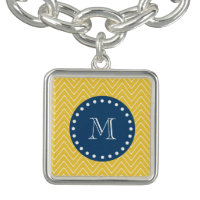 Navy Blue, Yellow Chevron Pattern | Your Monogram Charm Bracelet