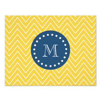 Navy Blue, Yellow Chevron Pattern | Your Monogram 4.25x5.5 Paper Invitation Card