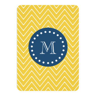"Navy Blue, Yellow Chevron Pattern | Your Monogram 4.5"" X 6.25"" Invitation Card"