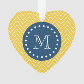 Navy Blue, Yellow Chevron Pattern | Your Monogram Ornament