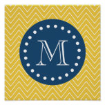 Navy Blue, Yellow Chevron Pattern | Your Monogram Posters