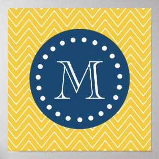 Navy Blue, Yellow Chevron Pattern | Your Monogram Poster