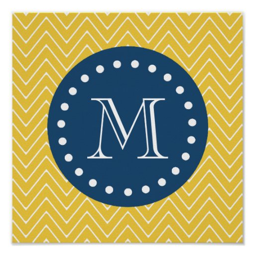 Navy Blue, Yellow Chevron Pattern | Your Monogram Posters