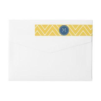 Navy Blue, Yellow Chevron Pattern   Your Monogram Wrap Around Label