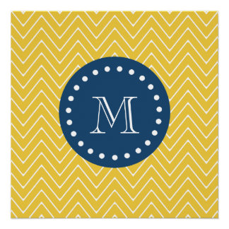 Navy Blue, Yellow Chevron Pattern | Your Monogram Perfect Poster