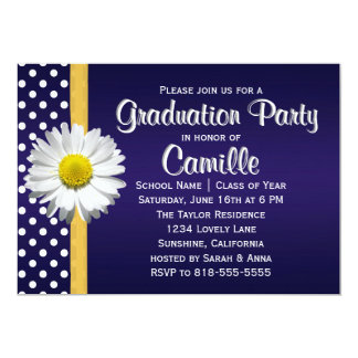 Navy Blue Yellow Daisy Graduation Party Invitation