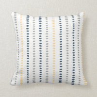 Navy Blue Yellow Gray Stripe Dots Pillow