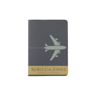 NAVY BLUE YELLOW LEATHER AEROPLANE MONOGRAM PASSPORT HOLDER