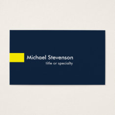Navy Blue Yellow Modern Unique Consultant Business Card at Zazzle