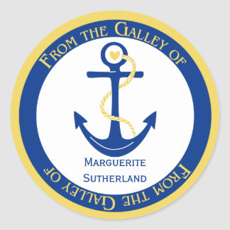 Navy Blue Yellow Nautical Kitchen Stickers