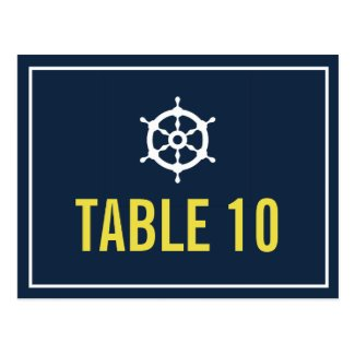 Navy Blue & Yellow Nautical Table Number Postcard