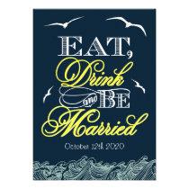 Navy Blue & Yellow Nautical Wedding Invitations