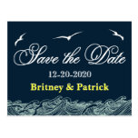 Navy Blue & Yellow Nautical Wedding Save the Dates Postcard