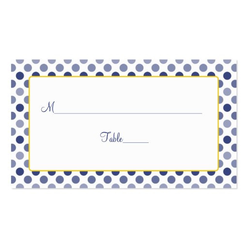 Navy blue yellow polka dot wedding place cards double for Polka dot business card templates free