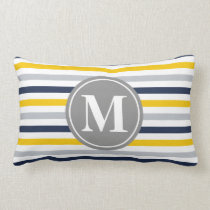 Navy Blue Yellow Striped Pattern Monogram Lumbar Pillow