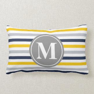 Navy Blue Yellow Striped Pattern Monogram Lumbar Pillow