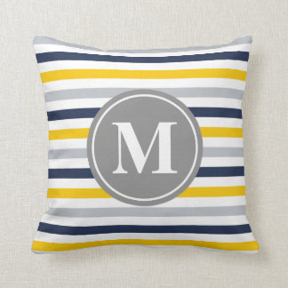 Navy Blue Yellow Striped Pattern Monogram Pillow