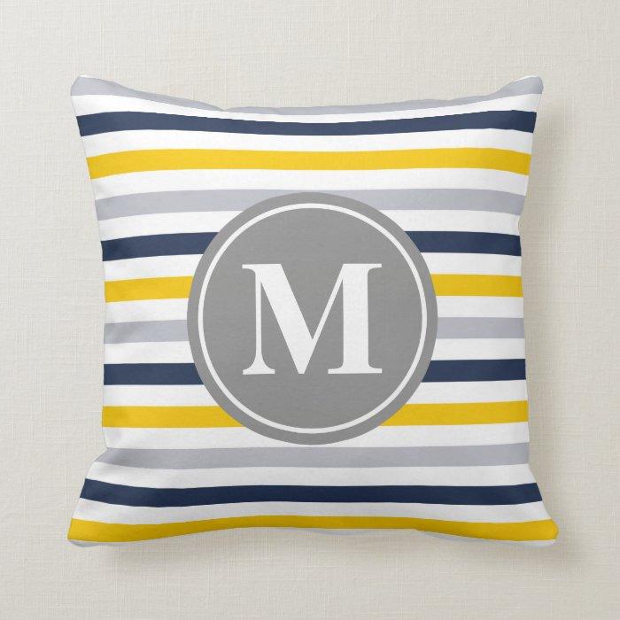 Yellow Striped Throw Pillows : Navy Blue Yellow Striped Pattern Monogram Throw Pillow Zazzle