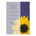Navy Blue Yellow Sunflower Wedding Invitation