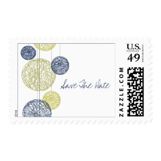 Navy Blue & Yellow Twine Globes Save The Date Postage