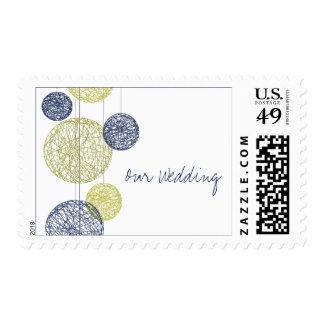 Navy Blue & Yellow Twine Globes Wedding Postage Stamps