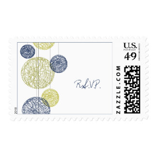 Navy Blue & Yellow Twine Globes Wedding RSVP Postage