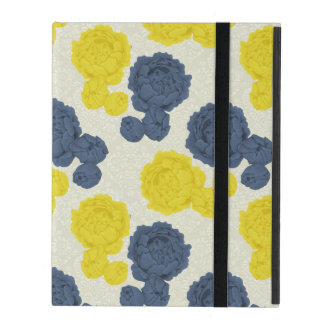 Navy Blue & Yellow Vintage Floral iPad Cover