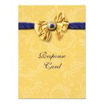 Navy blue yellow wedding rsvp response 5x7 paper invitation card