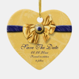 """Navy blue yellow wedding """"save the date"""" Double-Sided heart ceramic christmas ornament"""