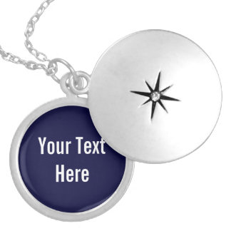 Navy Blue Your Text Here Custom Locket Necklace
