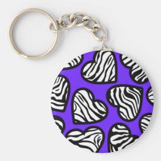 Navy blue zebra hearts Keychain