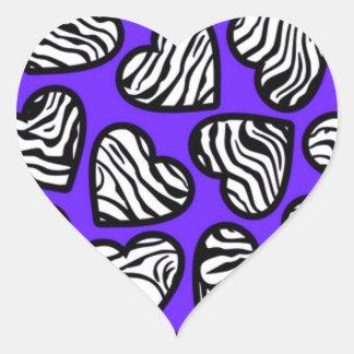 Navy blue zebra hearts sticker