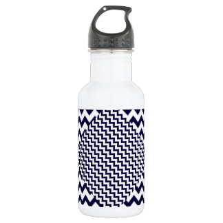 Navy Blue Zig-Zag on White Water Bottle
