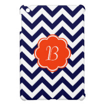 Navy Blue Zigzag Monogram Case For The iPad Mini