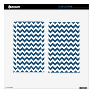Navy Blue Zigzag Stripes Chevron Pattern Kindle Fire Skin