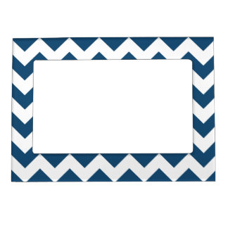 Navy Blue Zigzag Stripes Chevron Pattern Magnetic Picture Frame