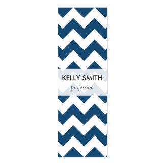 Navy Blue Zigzag Stripes Chevron Pattern Mini Business Card