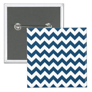 Navy Blue Zigzag Stripes Chevron Pattern Pinback Button