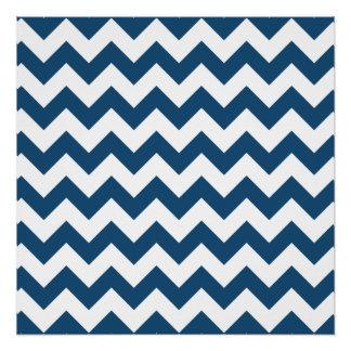 Navy Blue Zigzag Stripes Chevron Pattern Poster