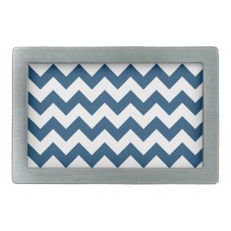 Navy Blue Zigzag Stripes Chevron Pattern Rectangular Belt Buckle