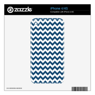 Navy Blue Zigzag Stripes Chevron Pattern Skin For The iPhone 4S